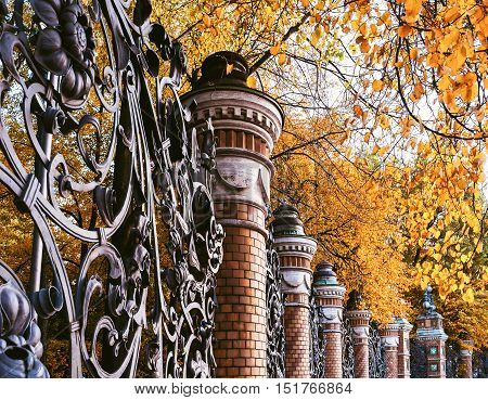 Autumn in St. Petersburg - fence of the Mikhailovsky Garden in St. Petersburg Russia in autumn cloudy day. Autumn architecture view of St. Petersburg landmark framed by autumn yellowed leaves