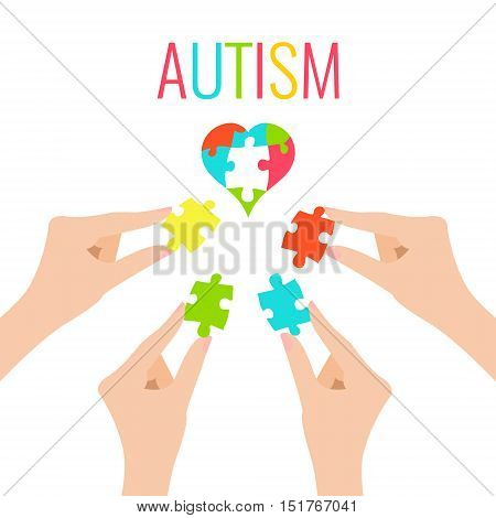 Autism awareness poster with heart and hands on white background. Heart made of puzzle pieces as symbol of autism. Solidarity and support symbol. Medical concept. Vector illustration.