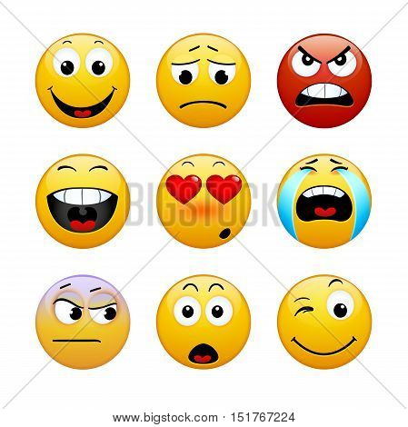 Set of emoticons on white background. Vector illustration of icons