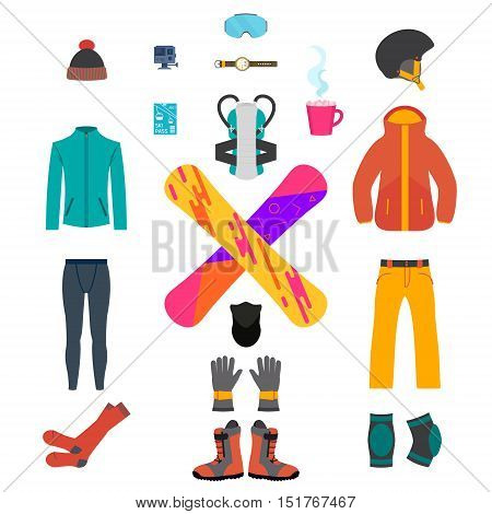 Set of snowboarding equipment icons on white background. Isolated snowboard and ski sport clothes and tools elements. Thermal underwear and protective gear. Winter sport concept. Vector illustration.