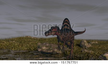 3d illustration of the spinosaurus attack