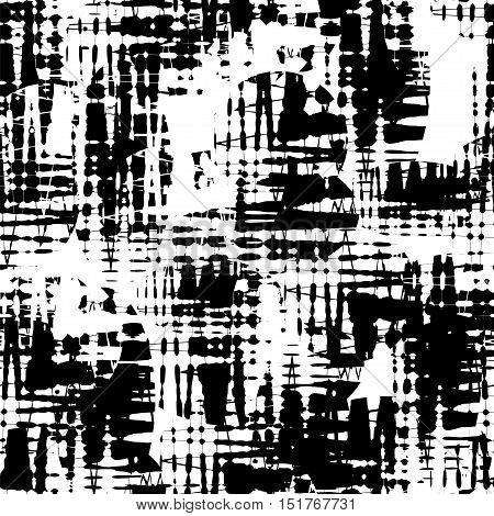 Seamless abstract black and white pattern consisting of a zigzags and curly vortices