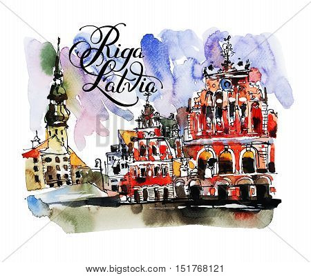 watercolor sketch painting with hand lettering calligraphy inscription of old town Riga Latvia top view cityscape for card or travel book design