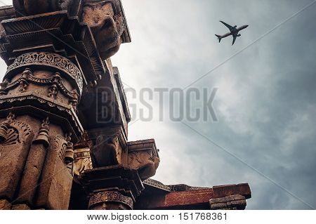 Pillars of the temple complex Qutb Minar on the Sky View