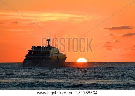Key West Sunset and boat, Key West, Florida, USA