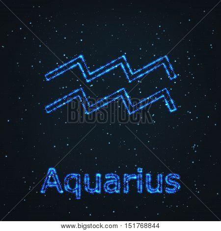 Astrology Shining Blue Symbol. Horoscope Sign. Zodiac Aquarius.