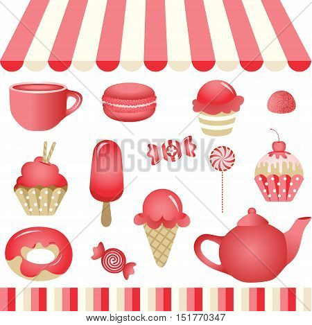 Scalable vectorial image representing a red candy shop, isolated on white. EPS10.