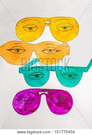 Colorful glasses and eyes on white background painted by watercolor.