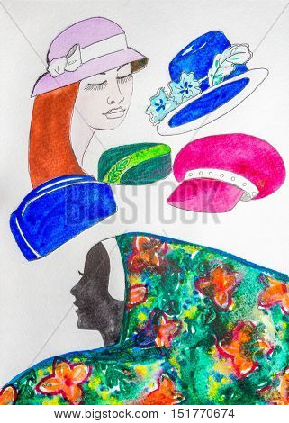 Fashion sketch set. Hand drawn graphic hats. Contrasty glamour fashion inky sketch in vogue style. Isolated elements on white background. Painted by watercolor.