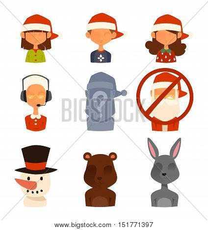 Christmas shop support vector avatars. Shop store gift delivery support cartoon people
