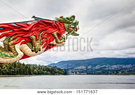 VANCOUVER - JULY 11, 2016: Replica of the SS Empress figurehead at Stanley Park in Vancouver July 11, 2016. The trading ship plied the region's waters from 1891-1922 carrying its commerce to Asia.