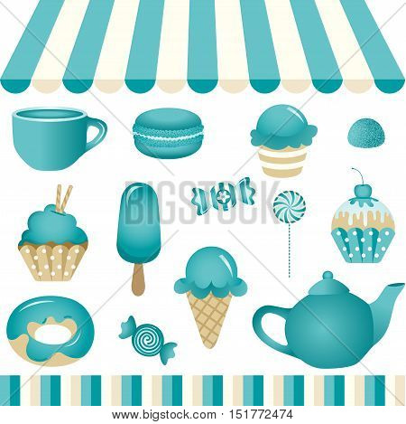 Scalable vectorial image representing a turquoise candy shop, isolated on white. EPS10.