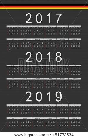 Set Of Black Rectangle German 2017, 2018, 2019 Year Vector Calendars
