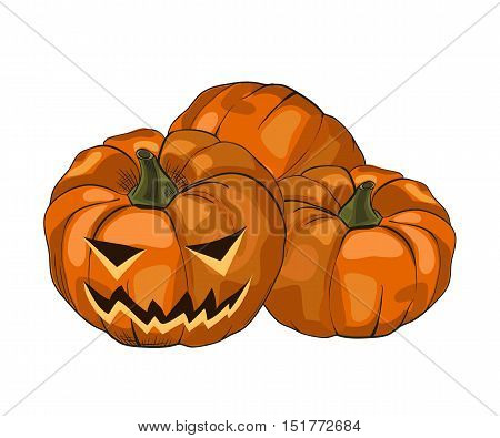Vector illustration Halloween pumpkin with cut eyes and mouth scary face on a white background. October holiday line drawing