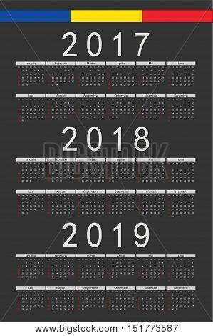 Set Of Black Rectangle Romanian 2017, 2018, 2019 Year Vector Calendars