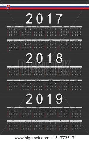 Set Of Black Rectangle Slovak 2017, 2018, 2019 Year Vector Calendars