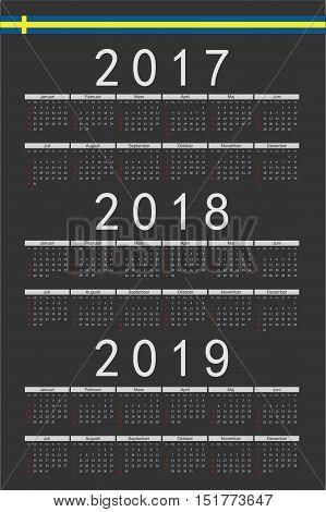 Set Of Black Rectangle Swedish 2017, 2018, 2019 Year Vector Calendars