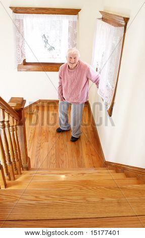 Senior Woman and Staircase