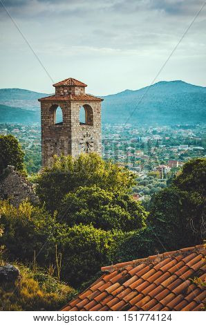 The clock tower of Old Town Bar, Montenegro. Stari Bar ancient fortress. World Heritage Site by UNESCO - Properties submitted on the Tentative List.