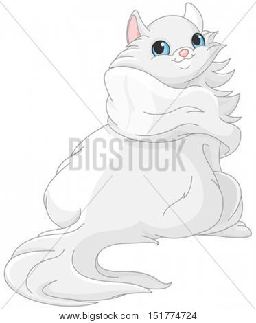 Illustration of cute white kitten