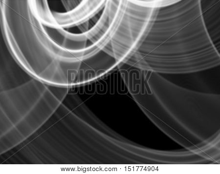 abstract white flame smoke frame over black background with copyspace for your text and design.