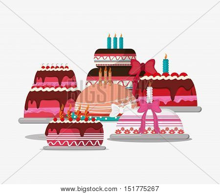 birthday cake party related icons image vector illustration design