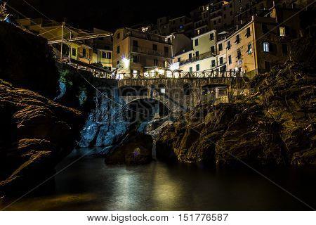 Manarola village of Cinque Terre photographed in a beautiful night