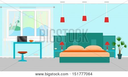 Bedroom interior with a furniture and workplace including desk laptop bed houseplants. Vector illustration in flat style