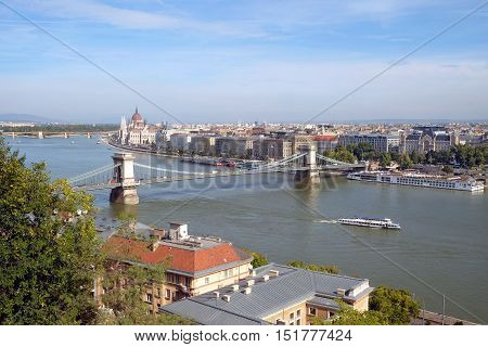Top view of the Chain Bridge across the Danube in Budapest