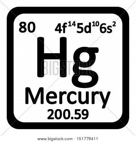 Periodic table element mercury icon on white background. Vector illustration.