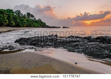 Sunset in Tobago beach at dusk natural beauty