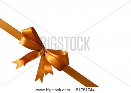 Gold Gift Bow And Ribbon Isolated On White Background Corner Diagonal