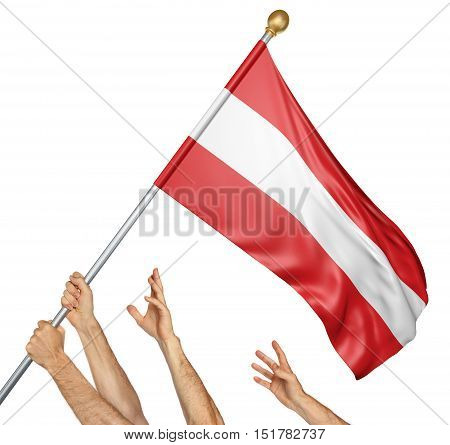 Team of peoples hands raising the Austria national flag, 3D rendering isolated on white background