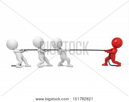 A few of 3d people are playing the tug of war,3d render