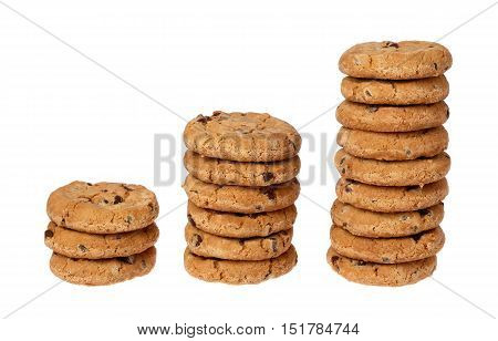 Three stacks of chocolate chip cookies in rising succession on a white background.
