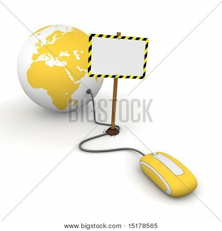 Surfing The Web In Yellow - Blocked By A White Rectangular Sign With Warning Stripes