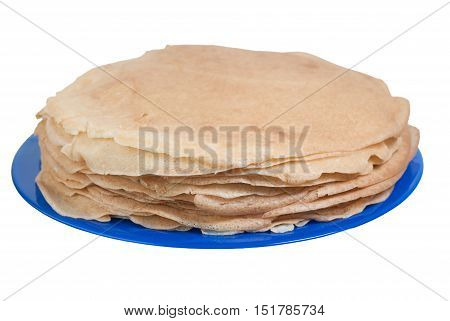 Stack of delicious pancakes on blue plate isolated by white background.