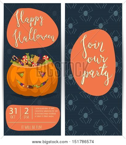 Vintage Halloween party flyers with scary pumpkin head jack full of sweet candies, cartoon vector illustration on blue background. Happy Halloween design template with lettering - Join our party. Funny halloween pumpkin. Cartoon vector pumpkin.