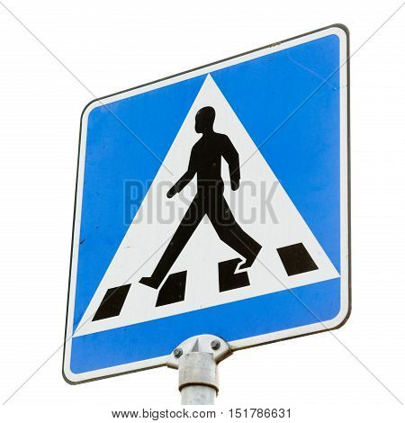 Swedish pedestrian crossing road sign isolated on white.