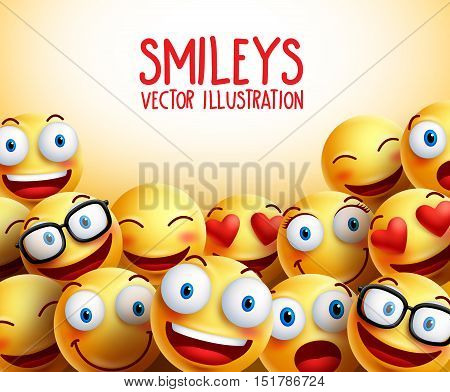 Smiley faces vector background with different facial expressions and empty space for text. Vector illustration.