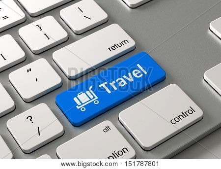 A keyboard with a blue button Travel