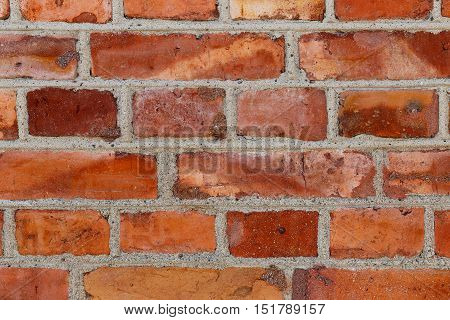 Close-up of the red brickworks wall pattern.