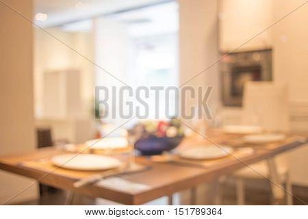 Defocus Background Of Dining Interior.