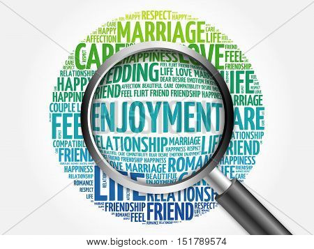 Enjoyment Word Cloud With Magnifying Glass