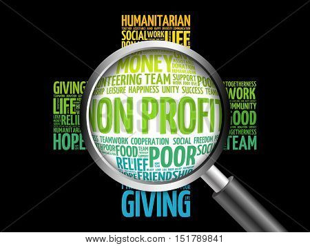 Non Profit Word Cloud With Magnifying Glass