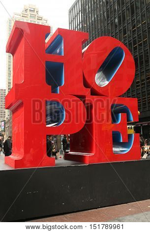 NEW YORK - OCTOBER 13, 2016: HOPE Sculpture by Robert Indiana in Midtown Manhattan. The material is COR-TEN steel