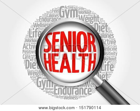 Senior Health Word Cloud With Magnifying Glass