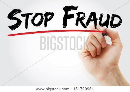 Hand Writing Stop Fraud With Marker