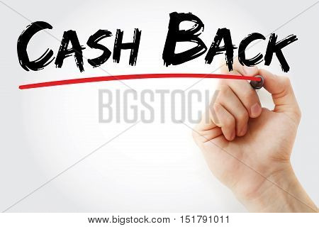 Hand Writing Cash Back With Marker