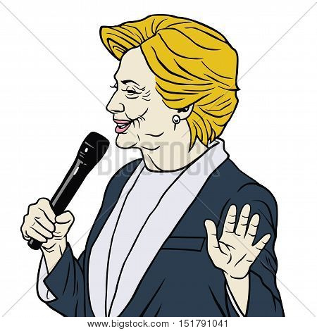 Presidential Candidate Hillary Clinton Cartoon Caricature Vector